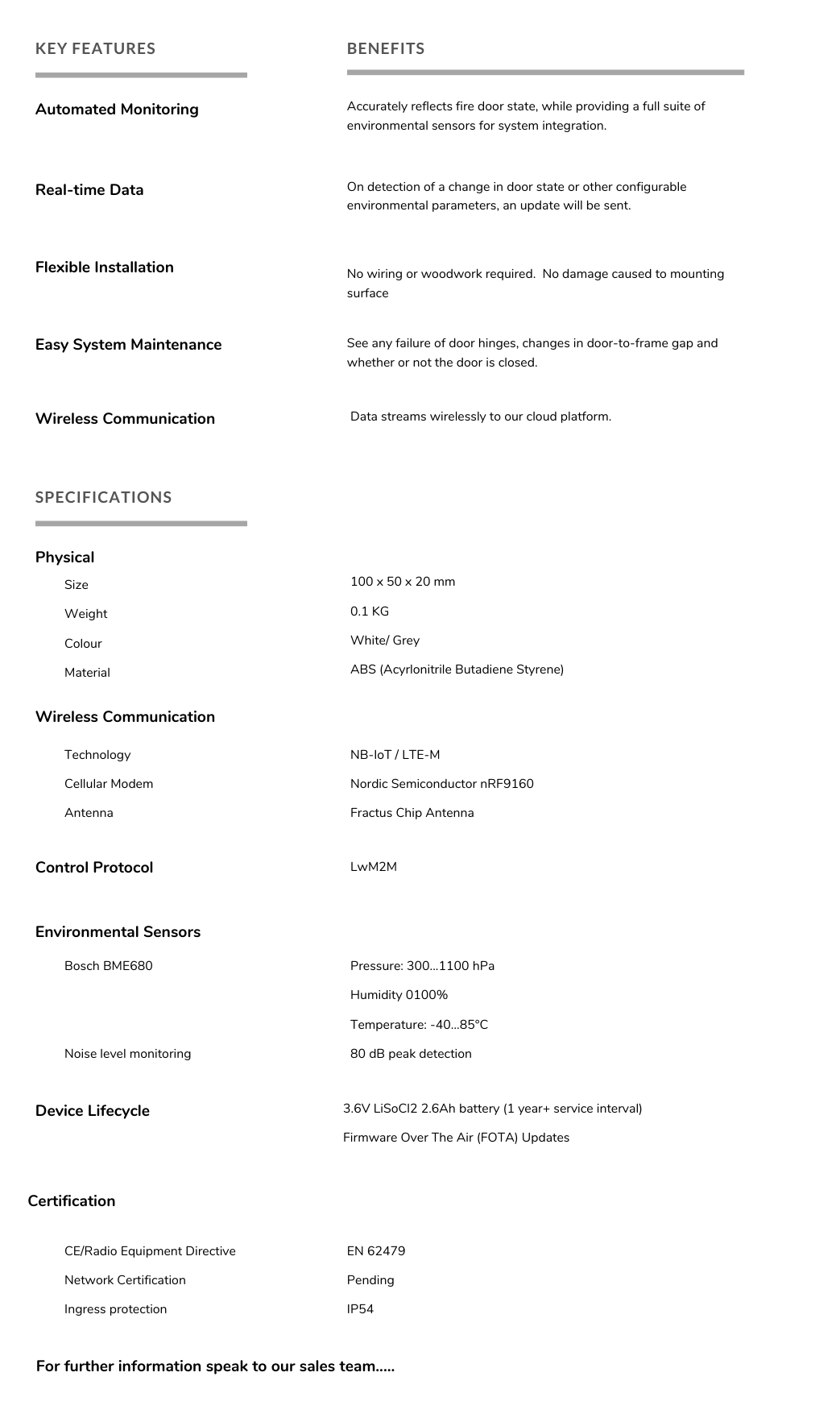 Door Sensor spec sheet Safecility 1